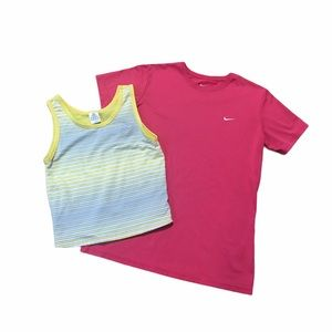 Women's Nike & Adidas pink/yellow tops bundle L